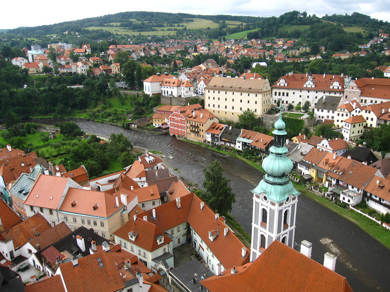 views from the castle tower in Cesky Krumlov, Czech Republic