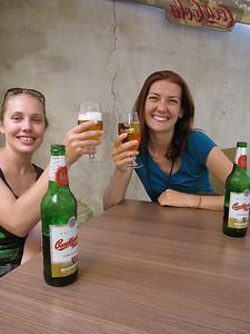 Enjoying some local Czech beer