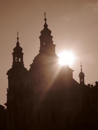 spires at sunset in prague