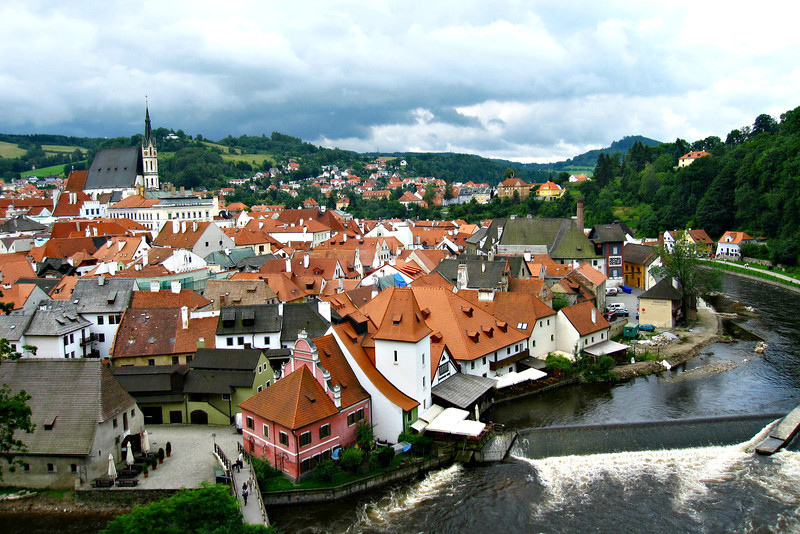 Cesky Krumlov from the Castle Tower in Czech Republic