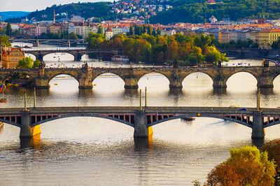 Vltava river with historic bridges in Prague