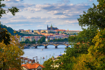 Prague Castle and Vltava river as seen from the Upper Castle