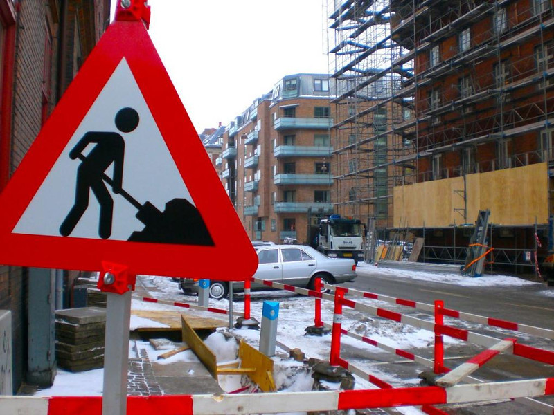 construction sign in denmark