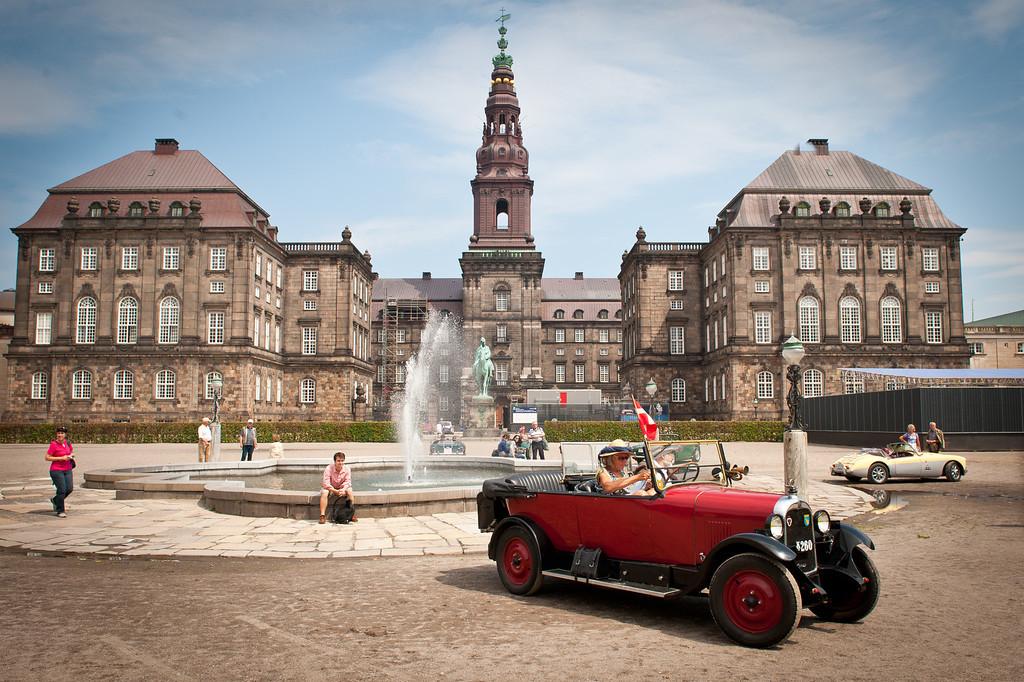 Vintage touring car at Christiansborg Palace, Copenhagen, Denmark