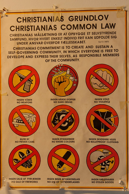 Nine rules for Christiania colony, Copenhagen