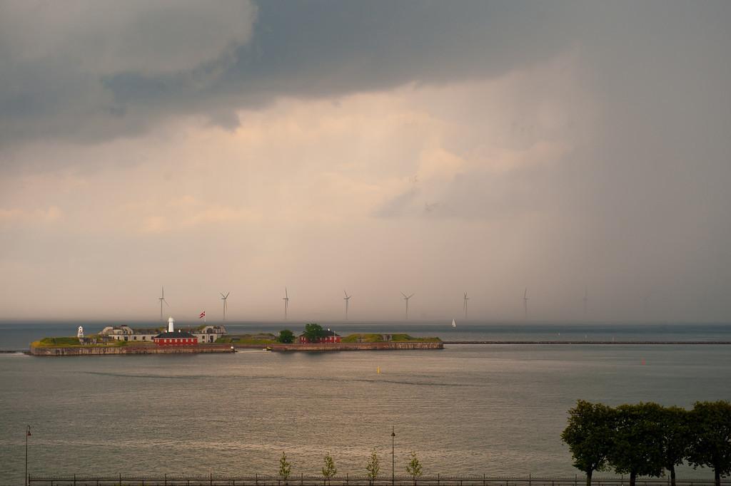 Storm approaching lighthouse island, Copenhagen harbor