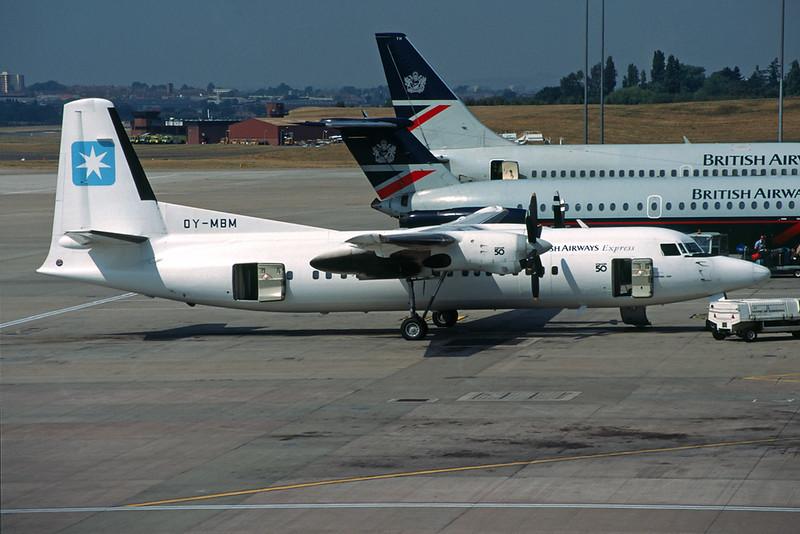 """OY-MBM Fokker F-50 """"Maersk Air"""" c/n 20103 Birmingham/EGBB/BHX 16-08-95 (35mm slide)"""