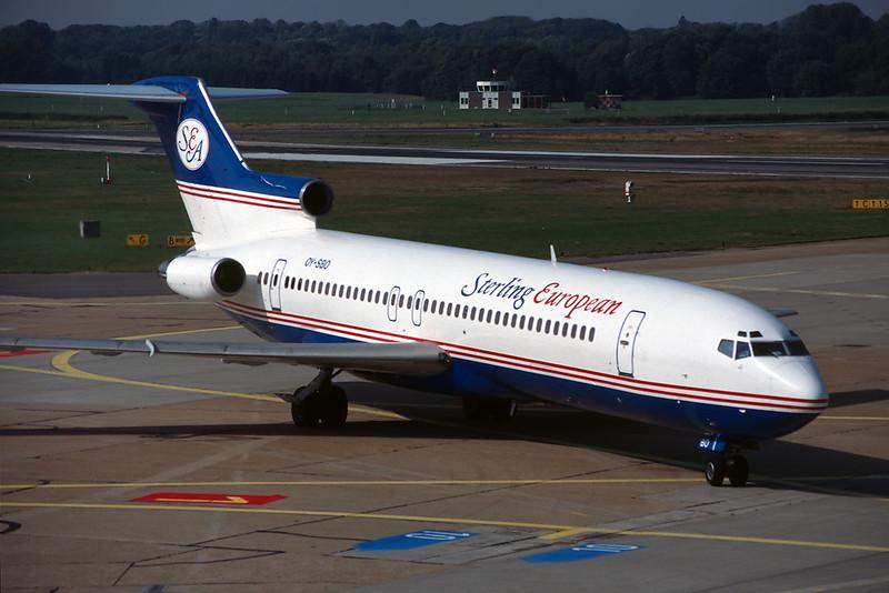 "OY-SBO Boeing 727-2K3 ""Sterling European"" c/n 22770 Hamburg/EDDH/HAM 17-09-95 (35mm slide)"
