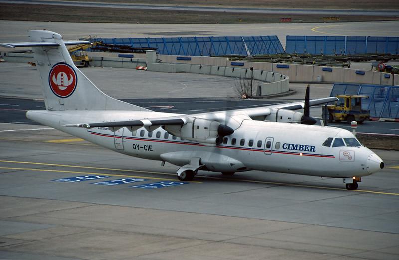 """OY-CIE Aerospatiale ATR-42-312 """"Cimber Air"""" c/n 082 Frankfurt/EDDF/FRA 01-02-97 (35mm slide)"""