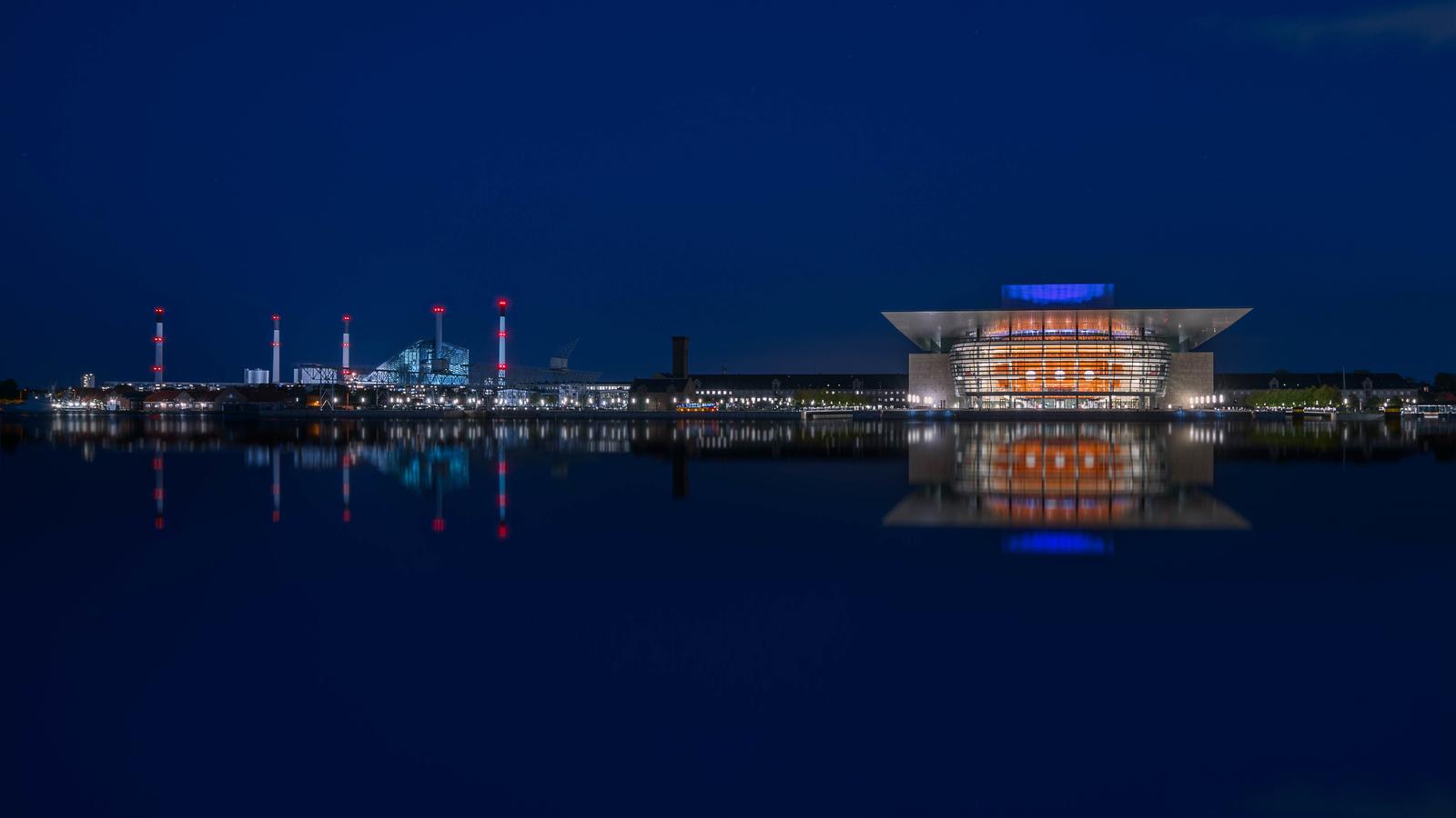 The Opera House at night in Copenhagen, Denmark