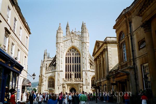 Bath - Bath Cathedral & Roman Bath Entrance on Right