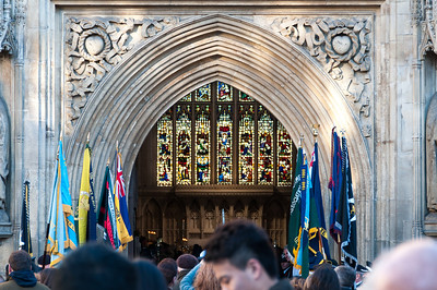 Crowd by the entrance door to Bath Abbey - Bath, England