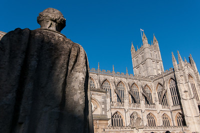 Sculpture and the Bath Abbey in Bath, England