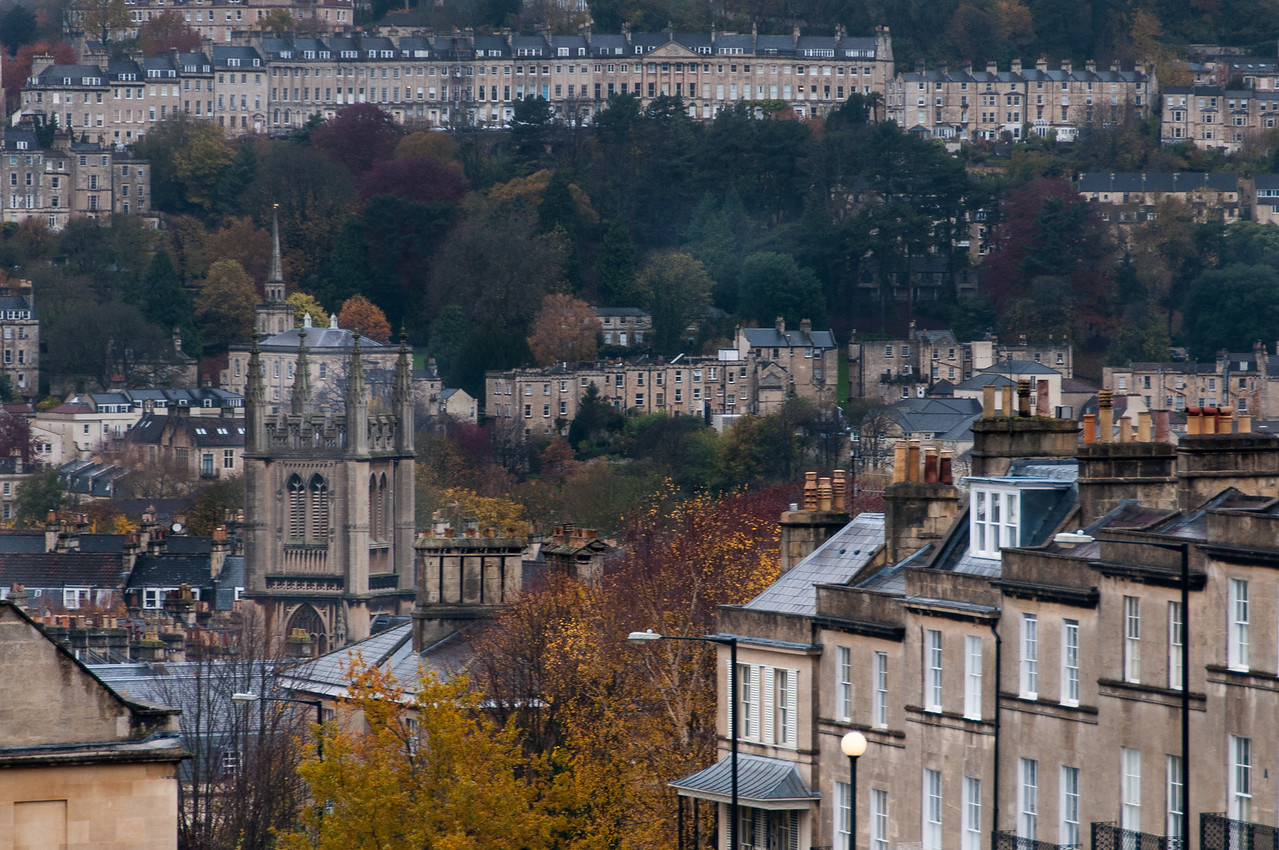 Bath Abbey visible over skyline - Bath, England