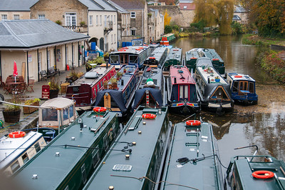 Narrow boats on dock in Bath, England