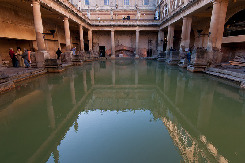 Inside the Roman Baths in Bath, England