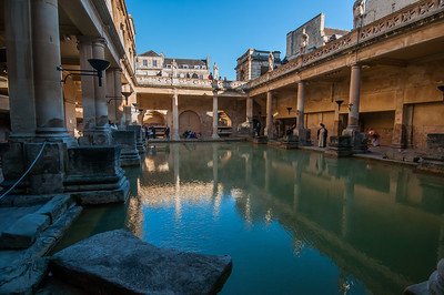 Closer view of the Roman Baths in Bath, England