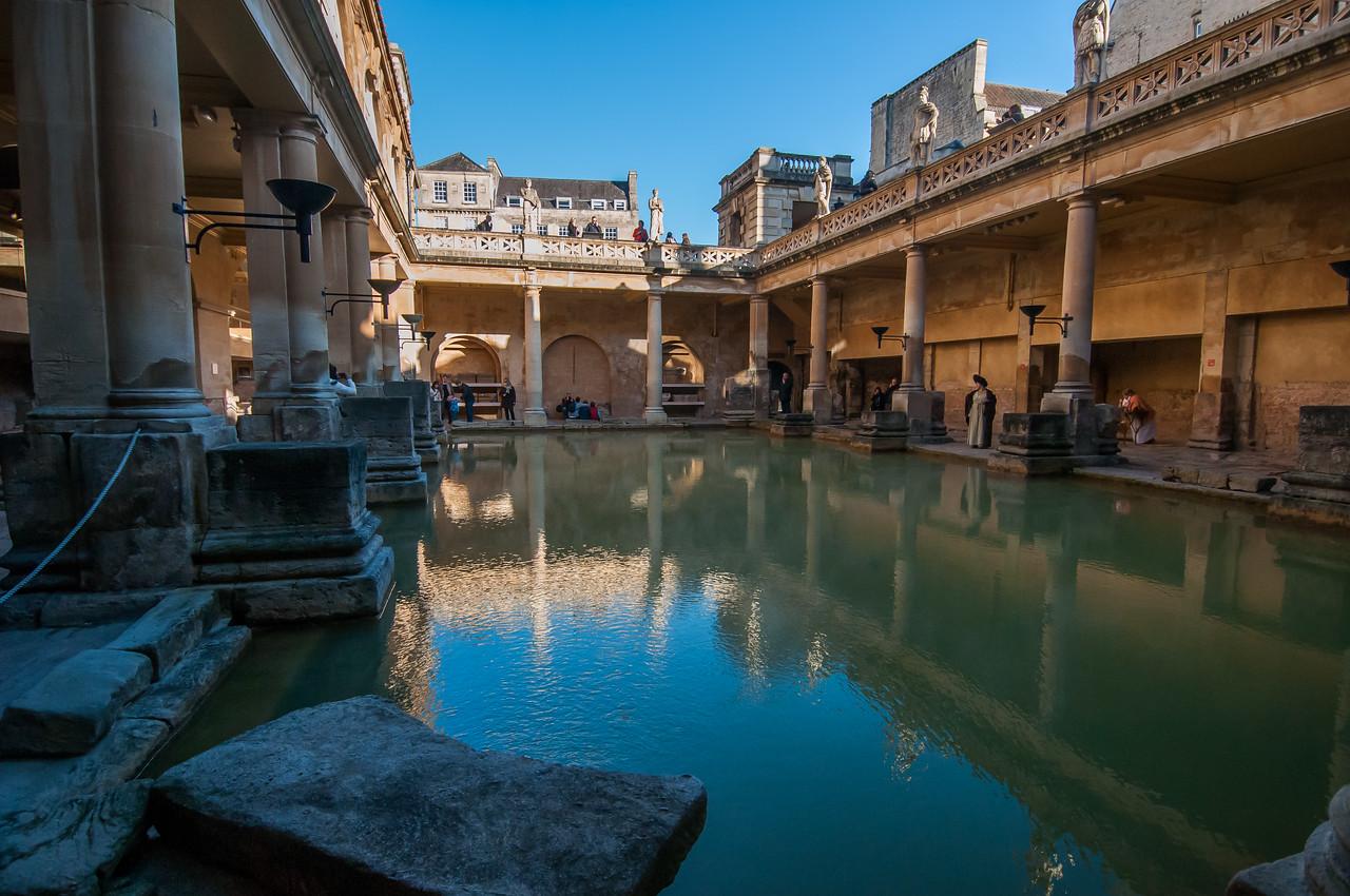 Closer view of the Roman Baths in Bath, England