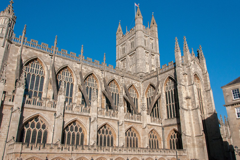 The Bath Abbey facade in Bath, England