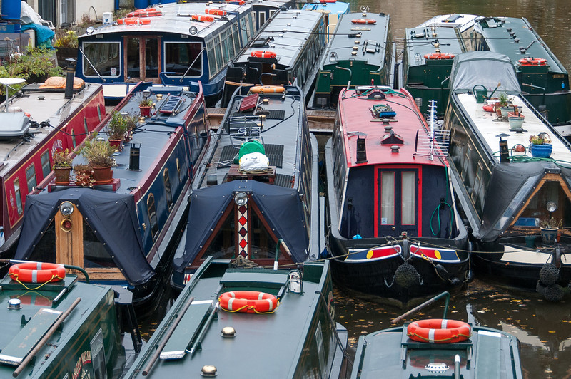 Narrow boats on dock - Bath, England