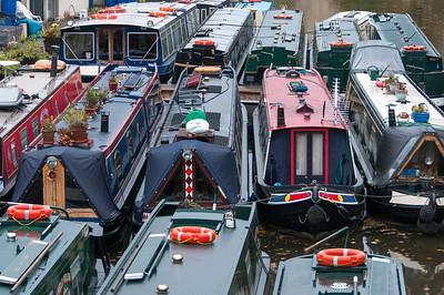 Narrow boats on dock - Bath, England