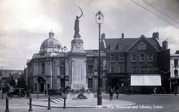 War Memorial and Library - and Sainsbury's