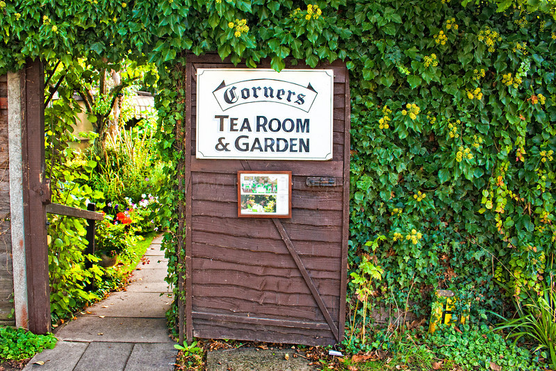 "Corners Tea Room and Garden in Broadway, England. Tea room/restaurant; open Mar-end Oct, 10:30am-5pm. Broadway is a well-known and much visited Cotswolds region village in the English county of Worcestershire. Often referred to as the ""Jewel of the Cotswolds"" and the ""Show Village of England"" because of it's archetypal rural beauty, the 'Broad Way' leads from the foot of the western Cotwolds escarpement along a wide grass-fringed street lined with ancient honey-coloured limestone buildings, many dating back to the 16th century."