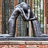 "'Reconciliation'. In 1995, 50 years after the end of the second world war this sculpture by Josefina de Vasconcellos has been given by Richard Brannon as a token of reconciliation. Coventry Cathedral, also known as St Michael's Cathedral, is the seat of the Bishop of Coventry and the Diocese of Coventry, in Coventry, West Midlands, England. The current (9th) bishop is the Right Revd Christopher Cocksworth.<br /> The city has had three cathedrals. The first was St. Mary's, a monastic building, only a few ruins of which remain. The second was St Michael's, a 14th century Gothic church later designated Cathedral, that remains a ruined shell after its bombing during the Second World War. The third is the new St Michael's Cathedral, built after the destruction of the former and a celebration of 20th century architecture. St Michael's church was largely constructed between the late 14th century and early 15th century. It was one of the largest parish churches in England when, in 1918, it was elevated to cathedral status on the creation of Coventry Diocese.[6] This St Michael's Cathedral now stands ruined, bombed almost to destruction during the Coventry Blitz on 14 November 1940 by the German Luftwaffe. Only the tower, spire, the outer wall and the bronze effigy and tomb of its first bishop, Huyshe Wolcott Yeatman-Biggs, survived. <a href=""http://en.wikipedia.org/wiki/Coventry_Cathedral"">http://en.wikipedia.org/wiki/Coventry_Cathedral</a> ."
