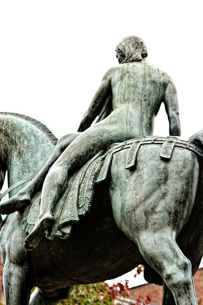 """Godiva (Old English: Godgifu, """"god gift""""), often referred to as Lady Godiva (fl. 1040–1080), was an Anglo-Saxon noblewoman who, according to legend, rode naked through the streets of Coventry, in England, in order to gain a remission of the oppressive taxation imposed by her husband on his tenants. The name """"Peeping Tom"""" for a voyeur originates from later versions of this legend in which a man named Tom had watched her ride and was struck blind or dead. Lady Godiva statue by Sir William Reid Dick unveiled at midday on 22 October 1949 in Broadgate, Coventry, a £20,000 gift from Mr WH Bassett-Green, a Coventrian. <a href=""""http://en.wikipedia.org/wiki/Lady_Godiva"""">http://en.wikipedia.org/wiki/Lady_Godiva</a> ."""