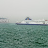 Ferry Boat by the White Cliffs of Dover. Dover, England.