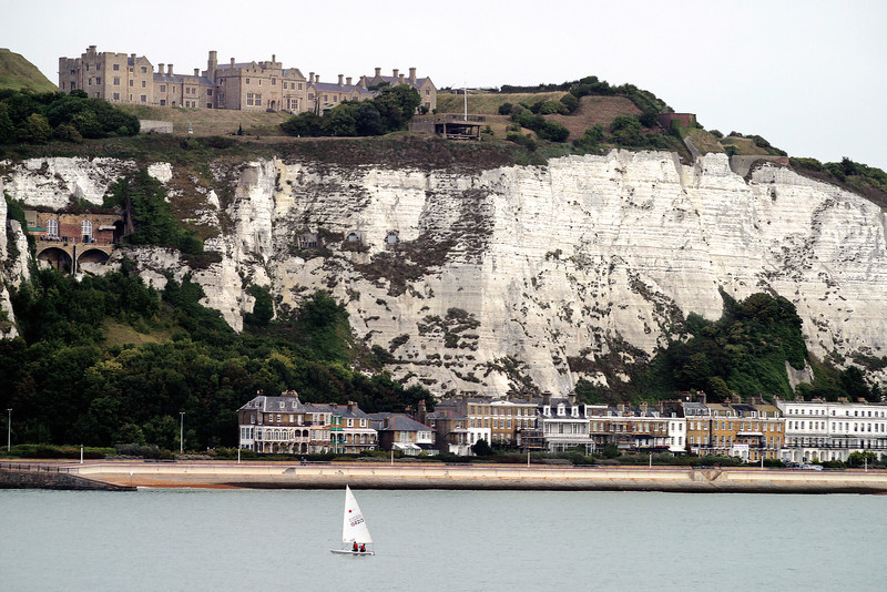 Dover Castle about the White Cliffs of Dover. Dover, England.