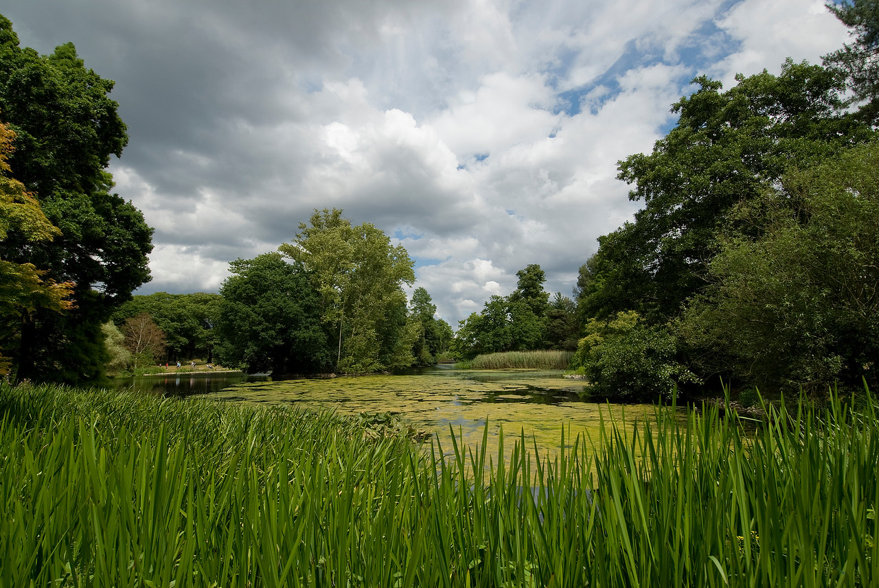Heavy clouds over the pond in Kew Gardens - England