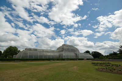 Wide shot of the greenhouse at the Royal Botanical Gardens - Kew, England