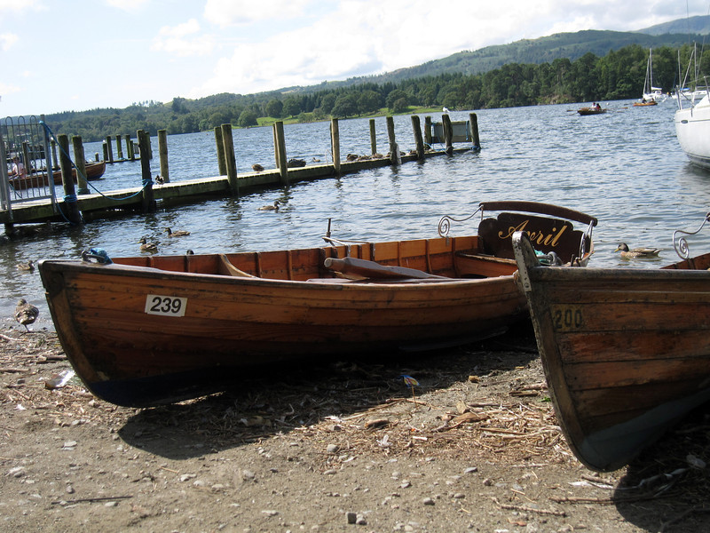 Cute boats dockside at Windermere-on-Bowness