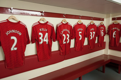 Liverpool football jerseys on hanger - Liverpool, England