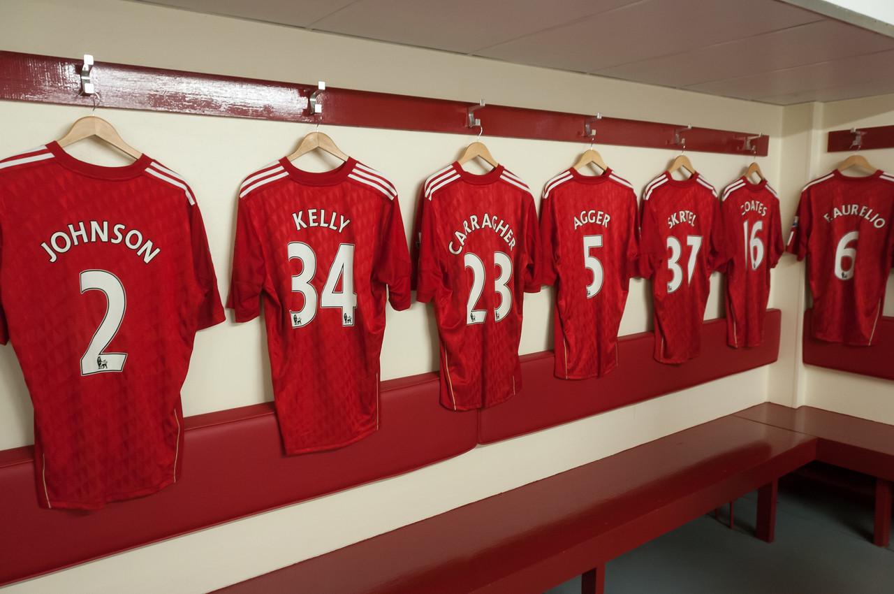 Liverpool football jerseys on hanger - Liverpool, England