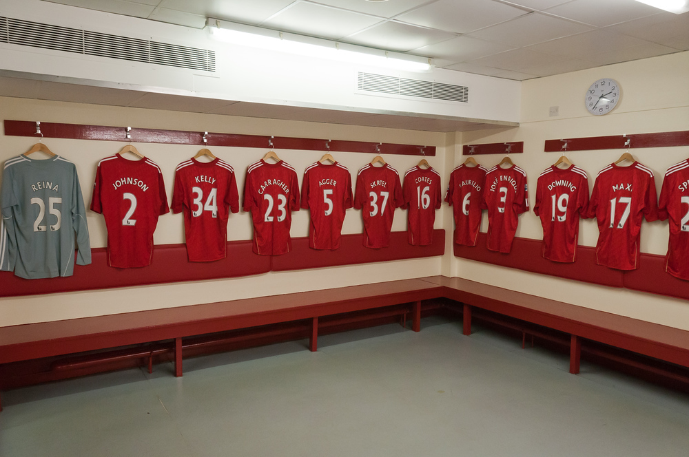 The home team locker room in Anfield, Liverpool, England