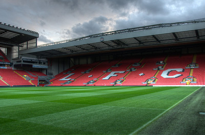 Open field at the Anfield Stadium in Liverpool, England