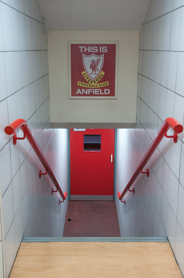 Stairs to Liverpool Football Club dugout at Anfield Stadium - Liverpool, England