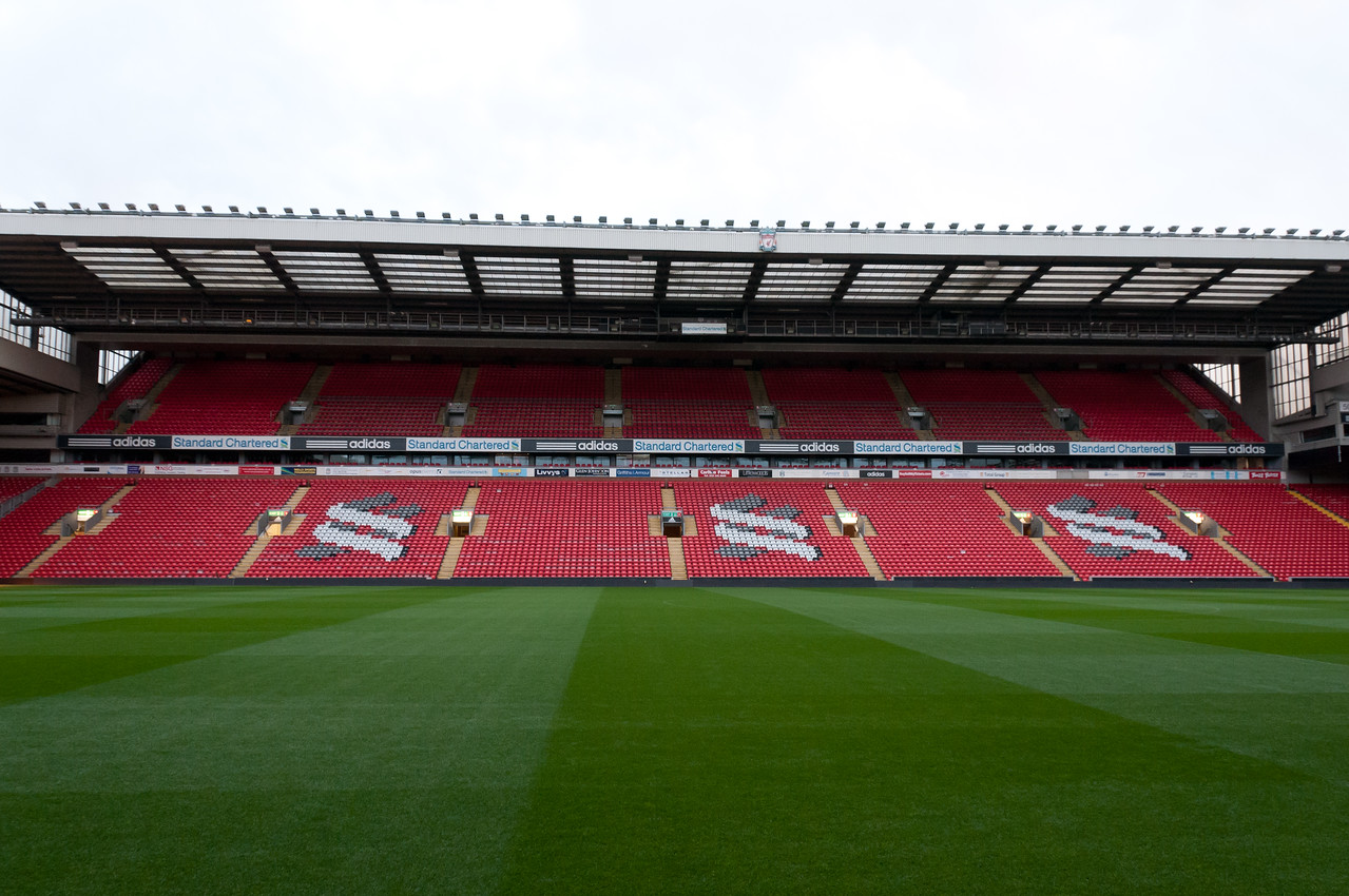 The audience deck at the Anfield Stadium - Liverpool, England