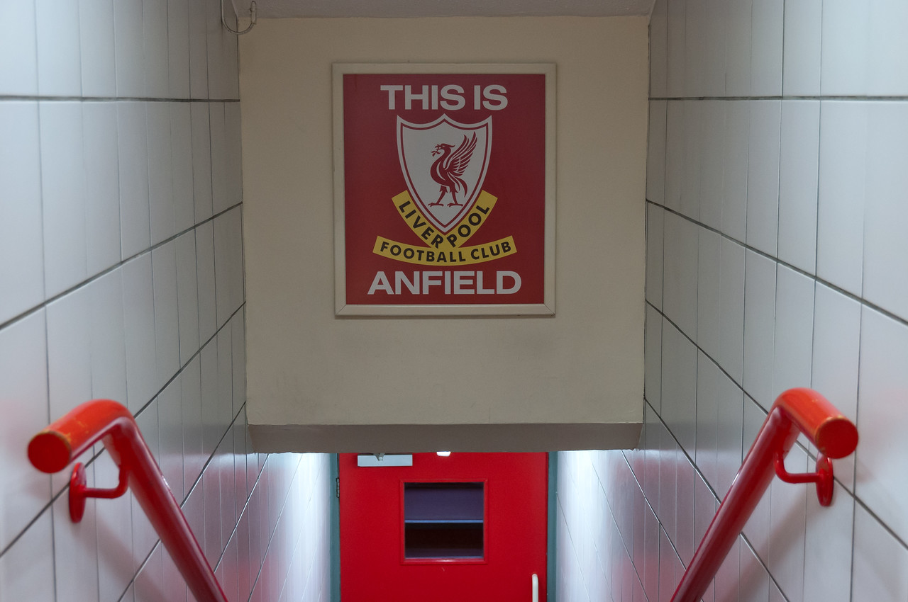 Liverpool Football Club sign at the Anfield Stadium - Liverpool, England