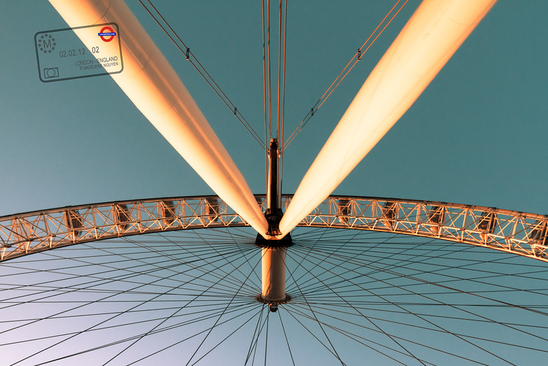 Underneath the London Eye on a Clear Winter Day - Sun is about to set.