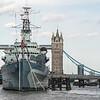 Navy ship foreground - Tower Bridge background