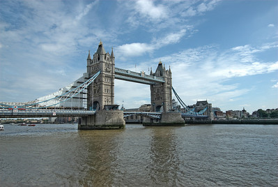 Wide shot of Tower Bridge and the Thames River - England