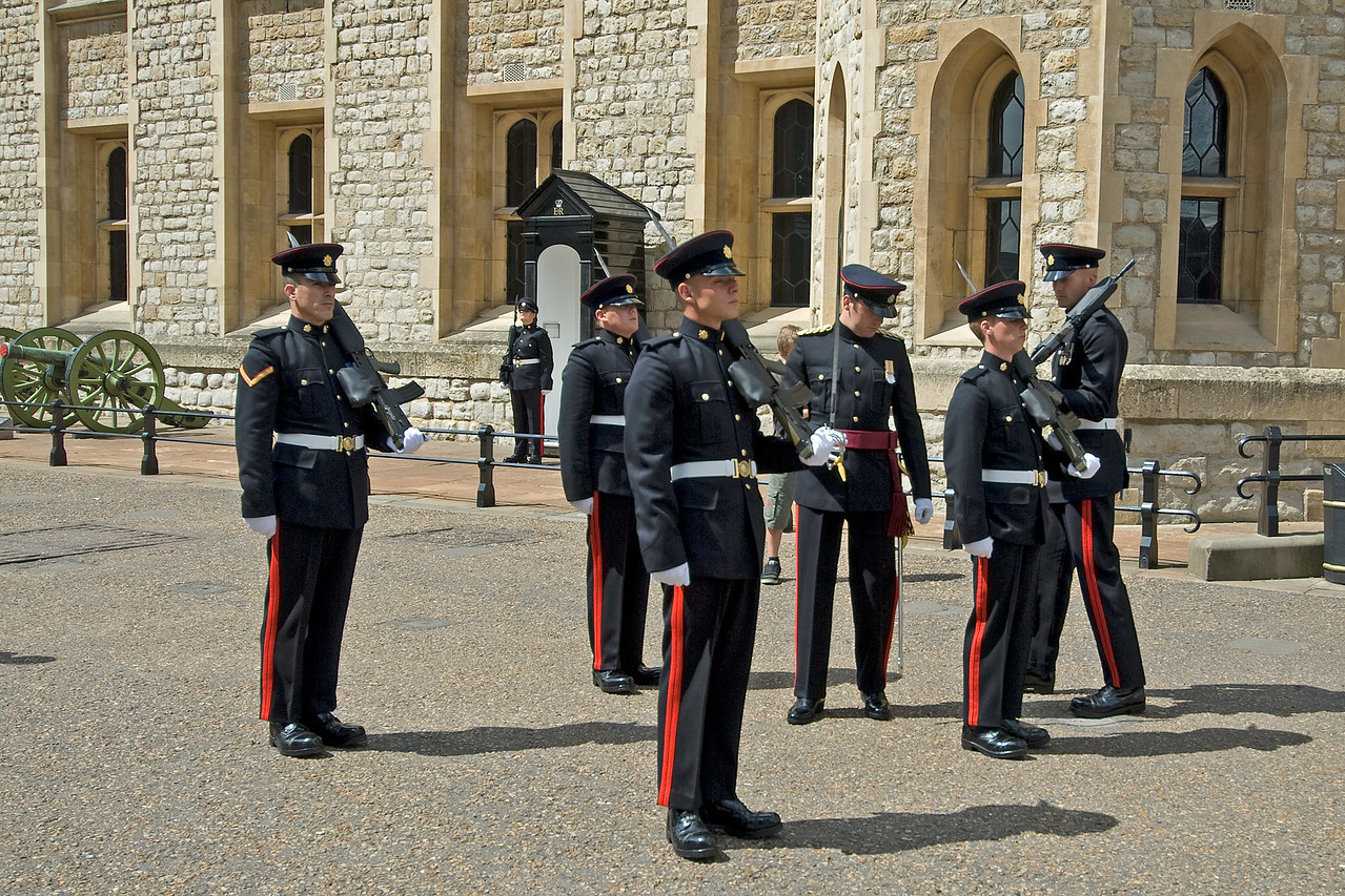 Guards at the ground of Tower of London - England