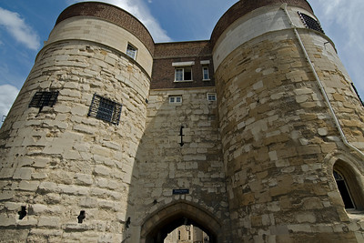 Giant brick pillars at the Tower of London - London, England