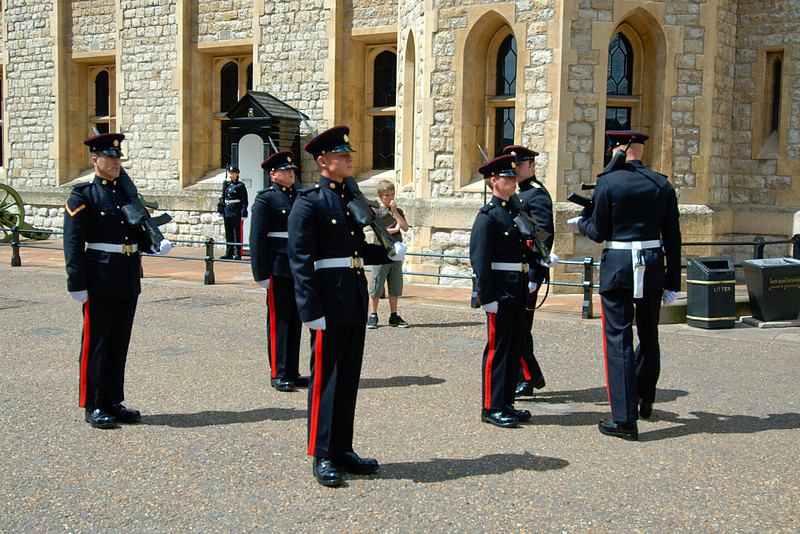 Guards outside the Tower of London in London, England