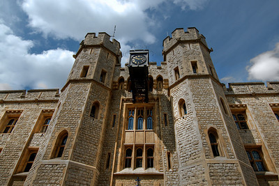 Looking up the Tower of London facade - London, England