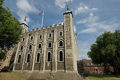 Building with British flag in Tower of London - England
