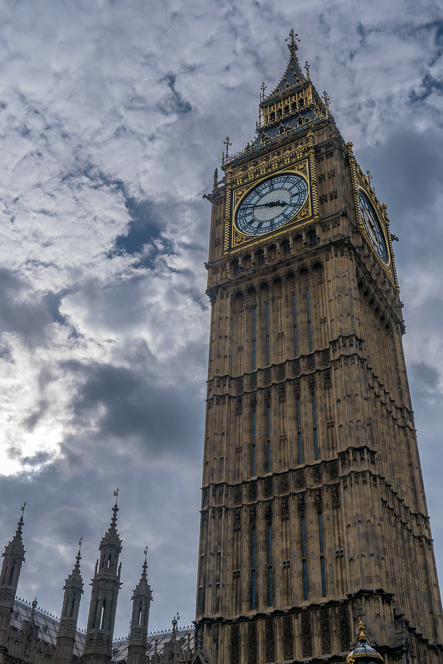 Big Ben and Westminster on a sunny day.  In London, England.